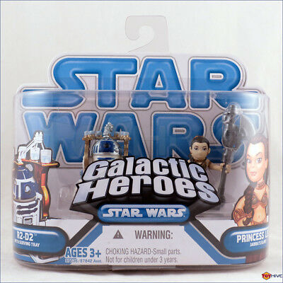 Star Wars Galactic Heroes Mini Figure 2Pack R2D2 with Serving Tray Princess Leia Jabbas Slave Hasbro