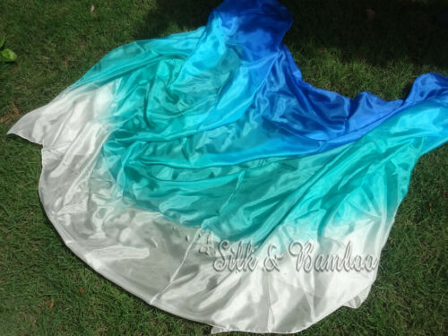 "2.7m*1.1m 9/'x45/"" blue-turquoise-peacock green-white 5mm belly dance silk veil"