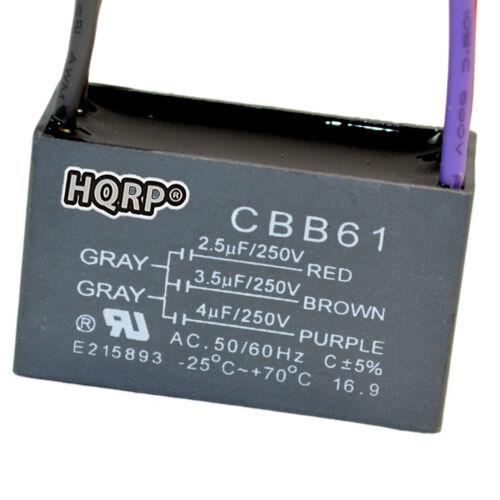 5 Wire CBB61 2-Pack HQRP Motor Capacitor for Hampton Bay Fan 2.5uF+3.5uF+4uF