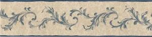Wallpaper-Border-Small-Acanthus-Leaf-Blue-Scroll-on-Faux-Beige-Linen-Background
