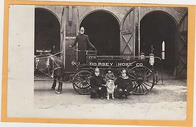 Real Photo Postcard RPPC - Fireman Horsedrawn Fire Truck Dorsey NE? Child & Dog