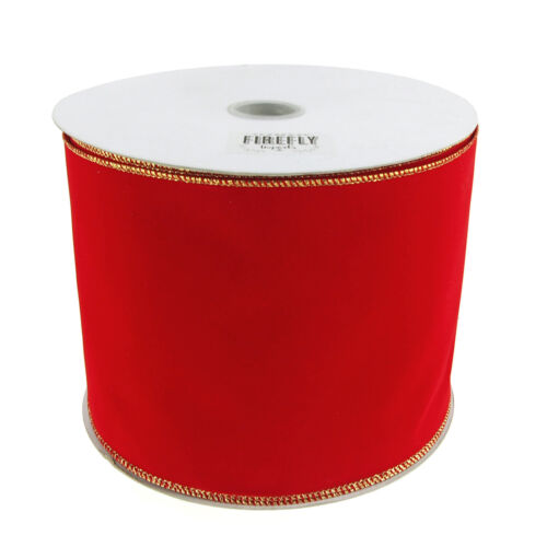 Christmas Velvet Ribbon Wired Edge, Red with Gold Edge, 6Inch, 50Yard