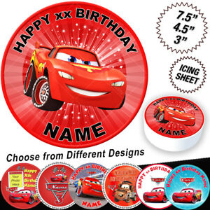 Miraculous Cars Lightning Mcqueen Birthday Cake Topper Ebay Personalised Birthday Cards Cominlily Jamesorg