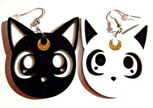 Image Is Loading Sailor Moon Earrings Luna Amp Artemis Kawaii Kitty