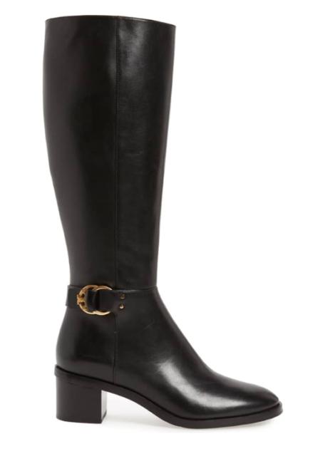 d6216233e15 NWB TORY BURCH Marsden 50mm Logo Boots in Perfect Black Size 6.5 Dust Bag   498