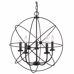Chandelier 5 Light Hanging Ceiling Pendant Globe Oil Rubbed Bronze