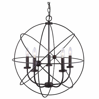 Chandelier 5 Light Hanging Ceiling Globe