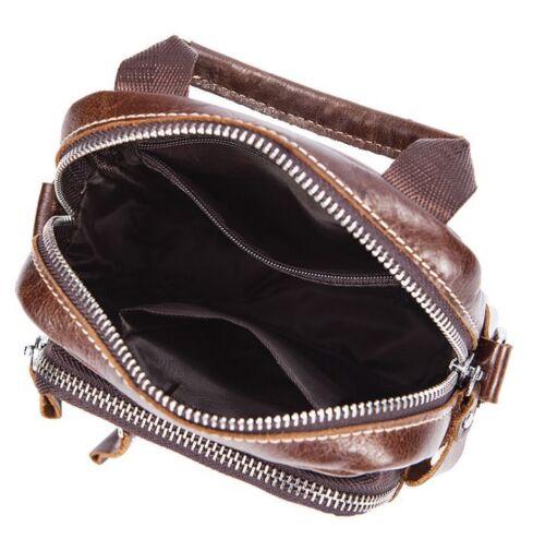 Men/'s Genuine Cow Leather Shoulder Bag Waist Bag Purse On Belt New Vintage XS