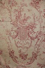 """Antique Toile de Jouy  """" The Swing"""" L'Escarpolette curtain linen fabric 1785"""