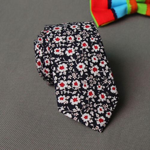 Narrow Skinny Necktie Casual Neck Tie Floral Flower Moderator Party Tie Gift