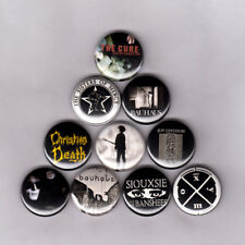 """GOTH 1"""" PINS / BUTTONS w/ JOY DIVISION BAUHAUS SIOUXSIE CURE SISTERS MERCY shirt"""