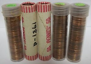 Five Coin Rolls 1981 D Lincoln Memorial Cents Uncirculated