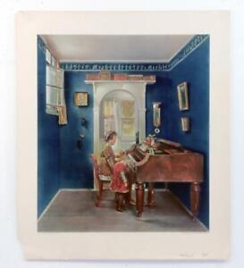 Vintage HERMANN GRAF Home Sweet Home Music Piano Children Print Lithograph #Z267