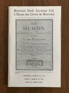 Montreal Book Auctions Catalogue 91 Codeword Huron Rare Books March 1976 Ebay