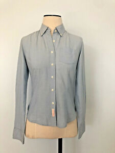 Ralph-Lauren-Polo-Jeans-Women-039-s-Size-XS-Fitted-Blue-Cotton-Oxford-Shirt