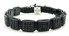 Mens Womens Black Crystal Square Shamballa Bracelet One Size NEW #4