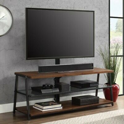 cheap for discount 6c55d ca197 Flat Screen TV Stand Wood Entertainment Media Metal Television Glass  Console New | eBay