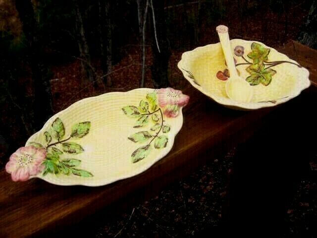VINTAGE ENGLISH MAJOLICA YELLOW SALAD BOWL & SERVING DISH  SHORTER & SON C1930