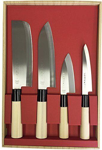 Tsubazo Seki Santoku Petty 4 pcs set 30046 Made in Japan Kitchen Knife