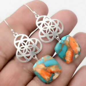 Spiny-Oyster-Turquoise-Arizona-925-Sterling-Silver-Earrings-Jewelry-AE22477