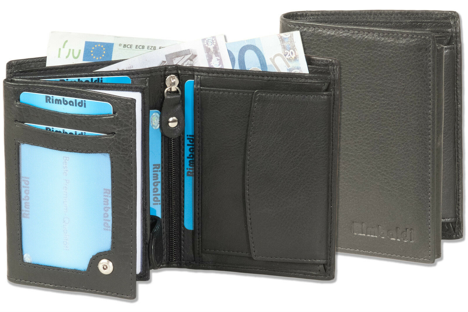 Rimbaldi Men's Wallet IN Portrait Mode From Untreated Leather IN Black