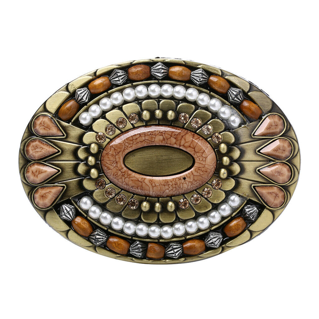 Aluminum belt buckle wooden beads + rhinestones Inlaid Bohemian style India