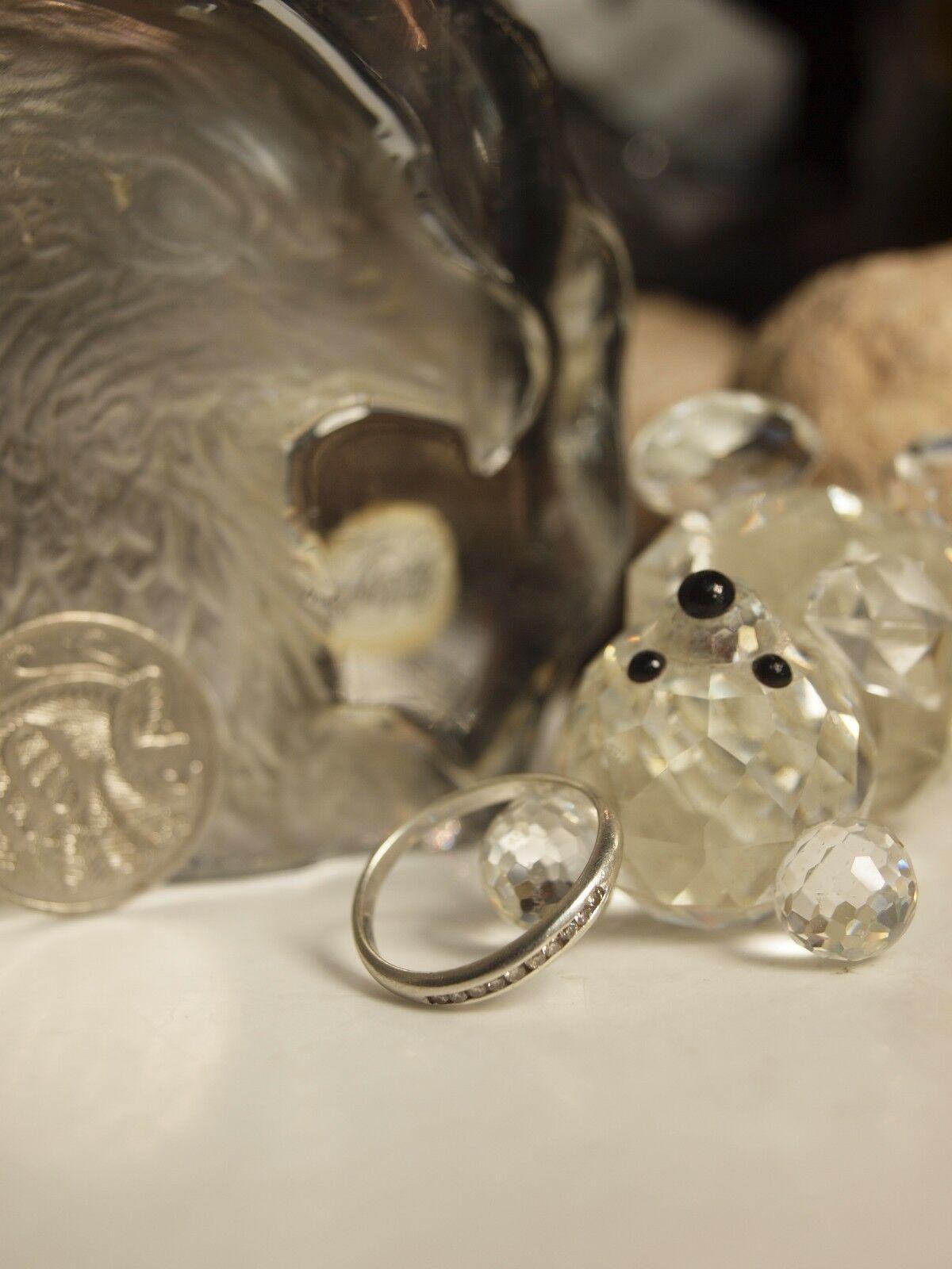 GENUINE   SOLID 9CT WHITE gold LADIES TWIST DRESS ROW DIAMOND RING