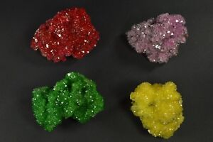 Alunite-red-green-yellow-pink-crystal-on-matrix-4pcs-Poland-free-shipping