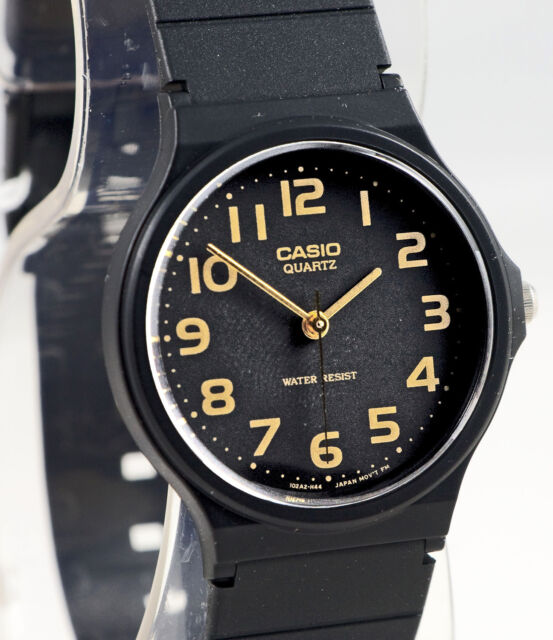 Casio MQ-24-1B2 Men's Analog Watch Classic Black with Gold Numbers NEW