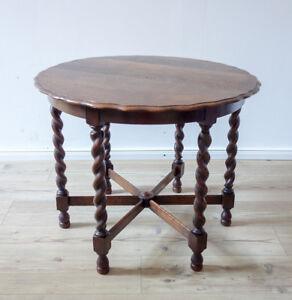 Details Zu Antiker Runder Couchtisch In Massiver Eiche England Um 1920 Tisch