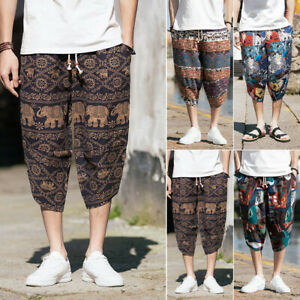 Unmanned Sada far finta  Stile Etnico Uomo Cotone Retrò Misto Capri Larga Pantaloni Harem Gamba  Spiaggia | eBay