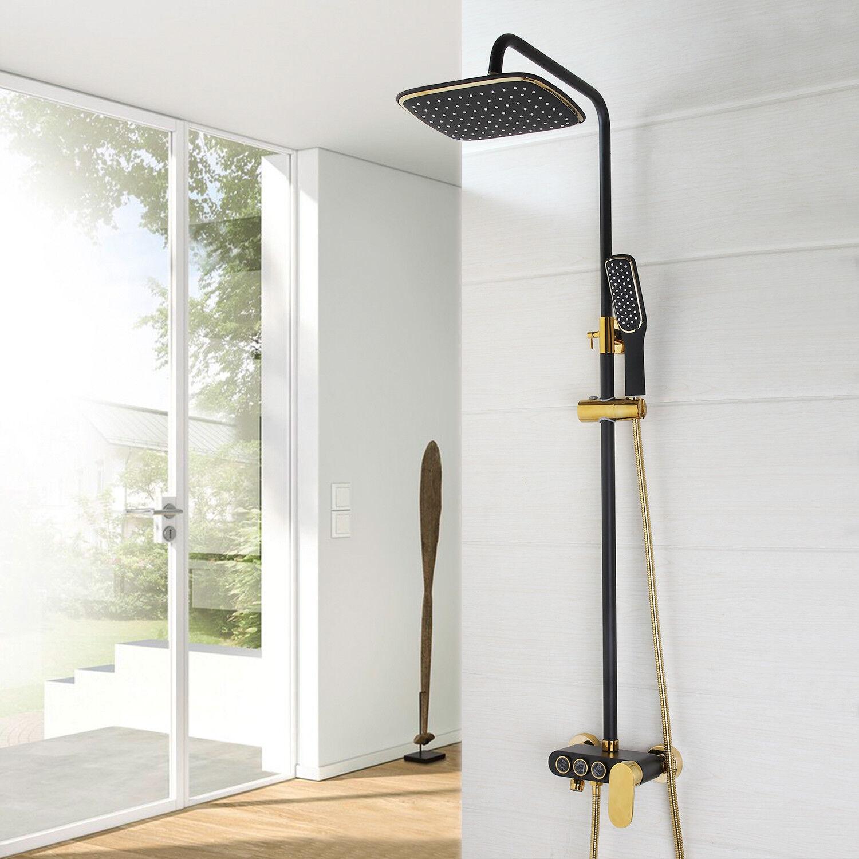Salle de bain noir doré tête de douche robinet robinet mural mitigeur Unité