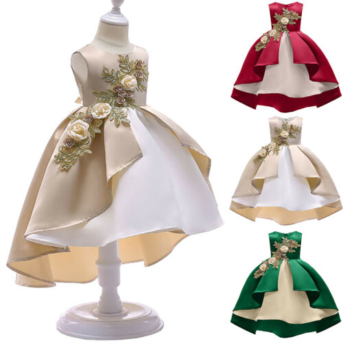 Kids Girls Flower Princess Party Bridesmaid Christmas Prom Wedding Formal Dress