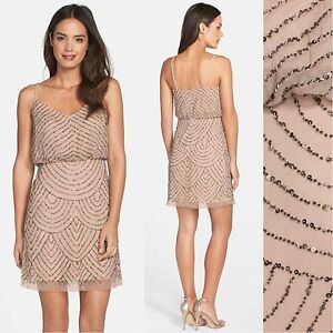 89fe88a4 NWT Adrianna Papell Sequin Mesh Blouson Dress Taupe Pink [ 0 4 6 12 ...