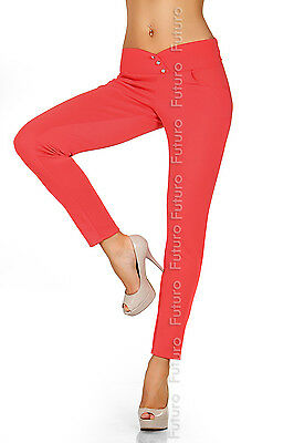 Summer Fashion Trousers with Buttons & Pocket  Stretch Pants Size 8-12 FK1169