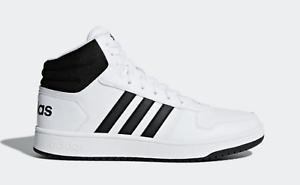 5fddcecc New Men's adidas HOOPS 2.0 MID SHOES White Black Hard Court Hi ...