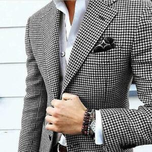 Details zu Männer Hahnentritt Herren Anzüge Tweed Smoking Anzüge Hochzeitsanzug 44 62