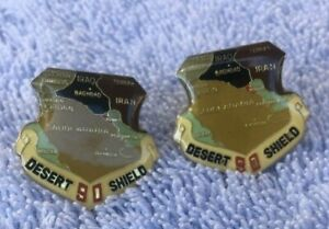 2-VINTAGE-DESERT-SHIELD-1990-US-NAVY-MARINES-AIR-FORCE-ARMY-COAST-GUARD-HAT-PINS