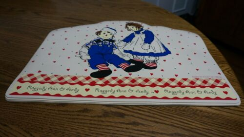 Raggedy Ann  and Andy 1998 Vinyl set of 4 Placemats