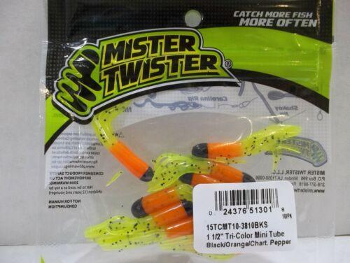 "Mr Twister 1-1//2/"" Tri Color Mini Tube black orange chart pepper 10//pack NIP"