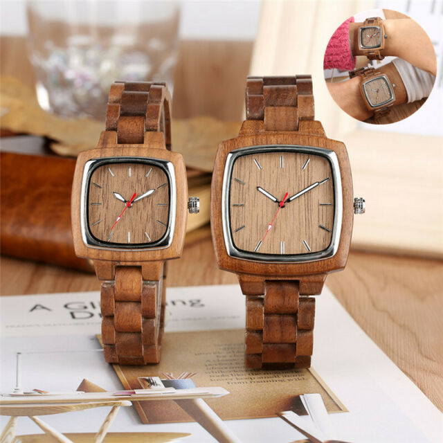 Full Wooden Natural Bamboo Square Case Unisex Watch Casual Dress Quartz Watches