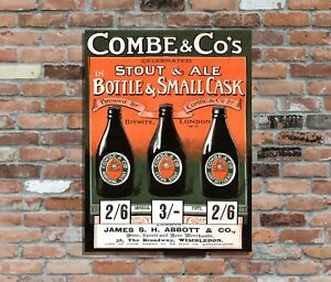 """COMBE Stout & Ale aged 10x8"""" Retro Vintage Metal Sign Advertising Wall Art Pic"""