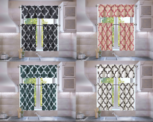 3PC-SET-FAUX-SILK-SMALL-KITCHEN-WINDOW-CURTAIN-GEOMETRIC-PRINTED-LINED-BLACKOUT