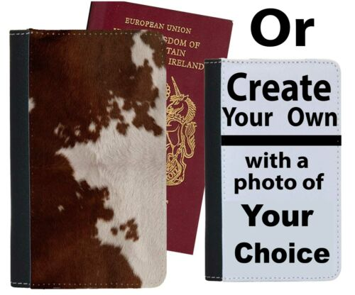 Brown and White Cow Print Passport Holder Pattern Skin Case Cover Wallet a203