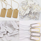 100Pcs Blank Jewelry Goods Label Price Tags Elastic Pre-Strung White Kraft Paper