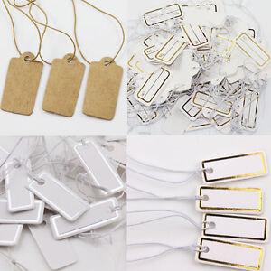Wholesale 100Pcs Goods Price Label Tags Blank Kraft Paper Elastic String Jewelry