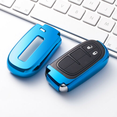 Blue Soft Protective key Case Shell Cover for Jeep Dodge Challenger Chrysler