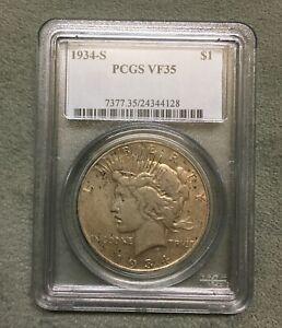 1934 S Peace Silver $1 Dollar~ PCGS Graded VF 35 ~ Nice Coin!
