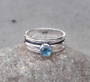 925-Sterling-Silver-amp-Blue-Quartz-Stone-Spinner-Ring-All-Size-Handmade-H-02