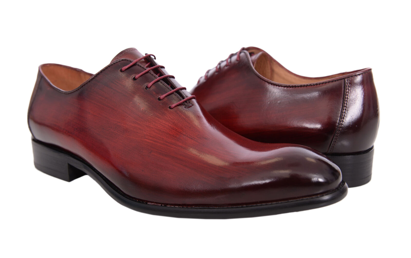 Carrucci Mens Burgundy Red Burnished Toe Wholecut Oxford Leather Dress shoes
